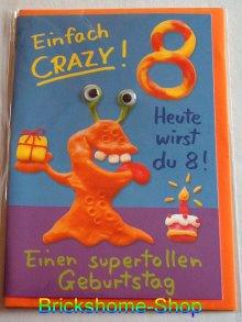 Geburtstagskarte mit Wackelaugen   8 Jahre, Brickshome Shop