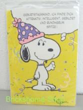 Peanuts   Geburtstagskarte Snoopy mit Partyhut, Brickshome Shop